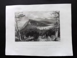 Bartlett America C1840 Print. Two Lakes and the Mountain House on the Castskills
